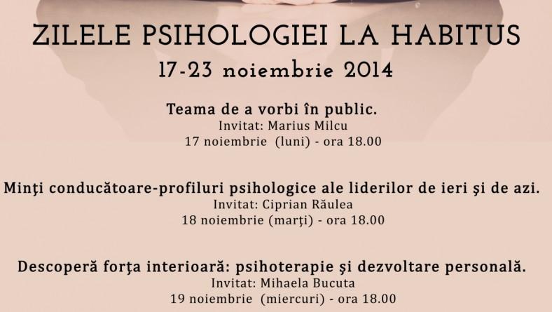 ZILELE PSIHOLOGIEI LA HABITUS 17/23 noiembrie 2014